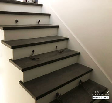 Custom Stairs with White Boards risers and Hardwood Stair treads