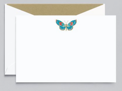 Crane Engraved Butterfly Correspondence Cards