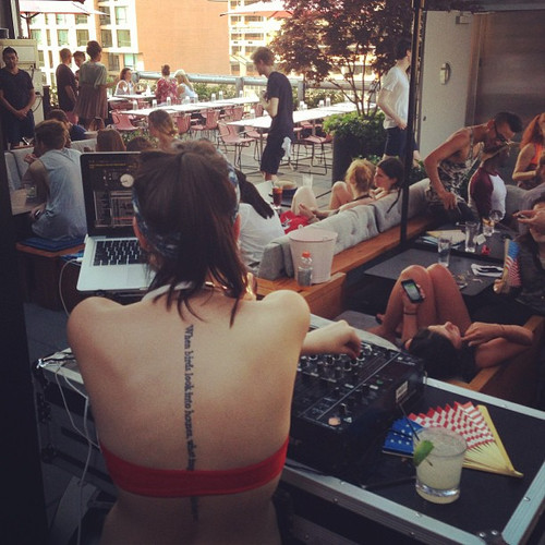 DJing a pool party at Hotel Americano, NYC