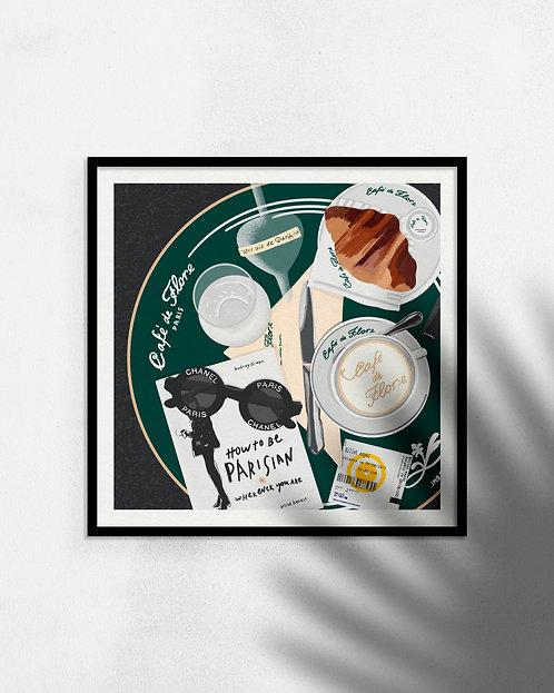'Breakfast in Paris' print