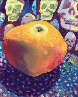 1asian pear and skull cloth