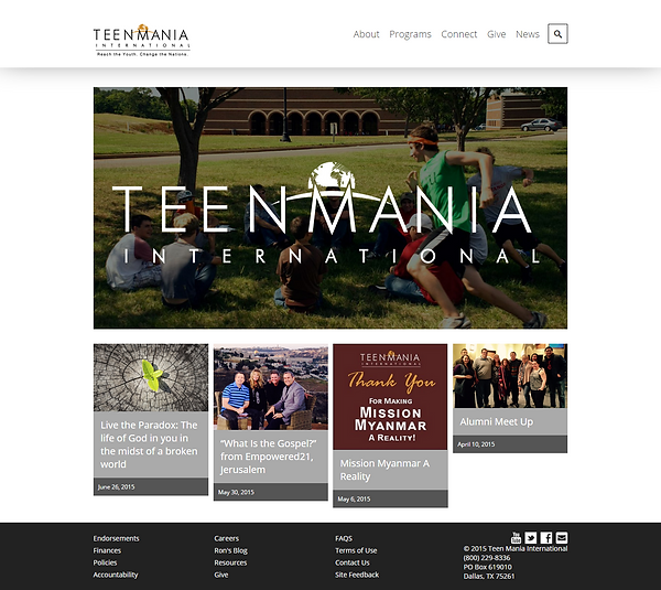 Teen Mania Ministries Welcome Page