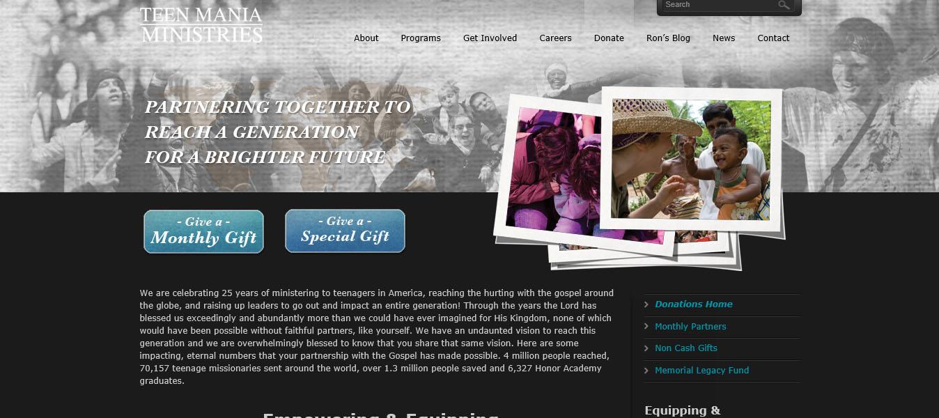 Teen Mania Ministries Web Design