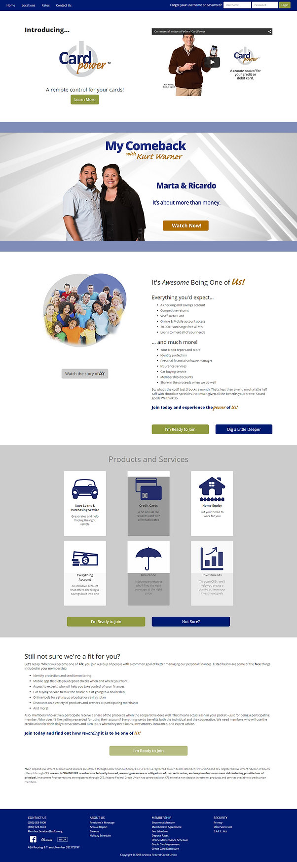 Arizona Federal Credit Union Responsive Web Site