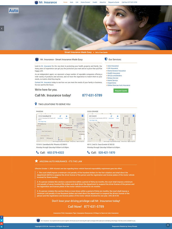 Mr Insurance Responsive Website