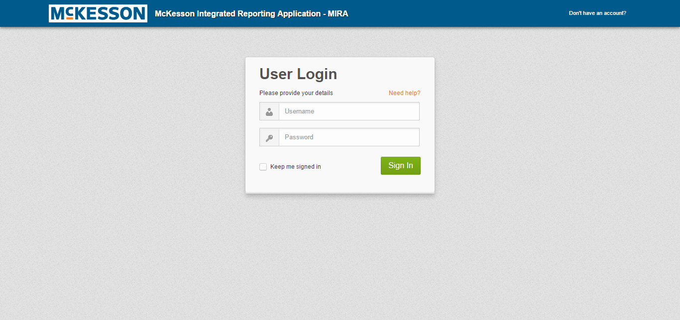 McKesson MIRA Login Web Application