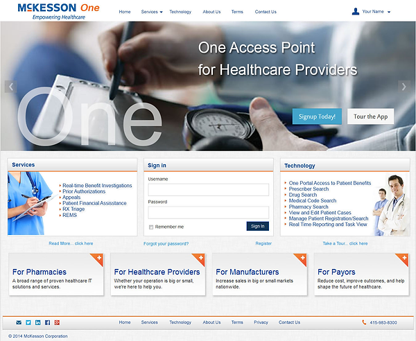 McKesson UHUB Alternative Landing Page