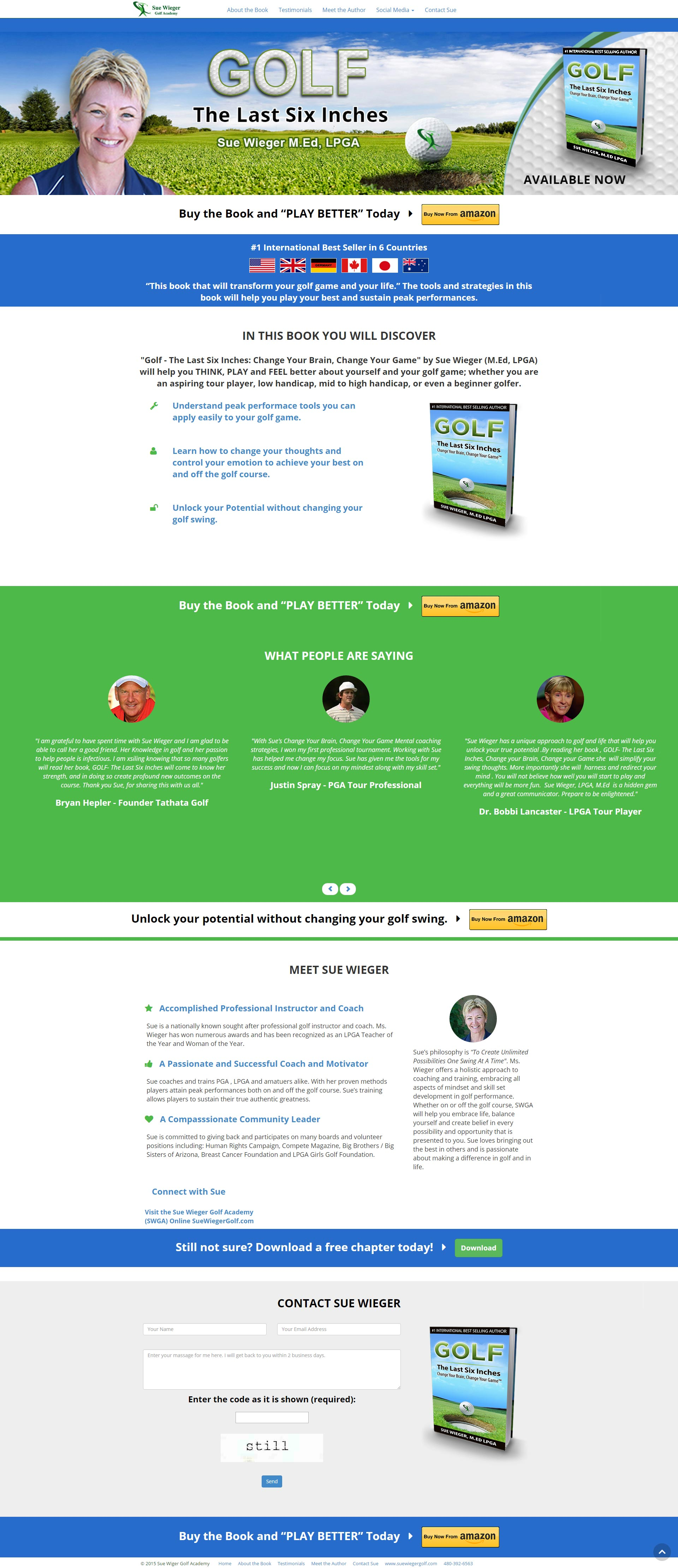 Top Selling Golf Book Landing Page