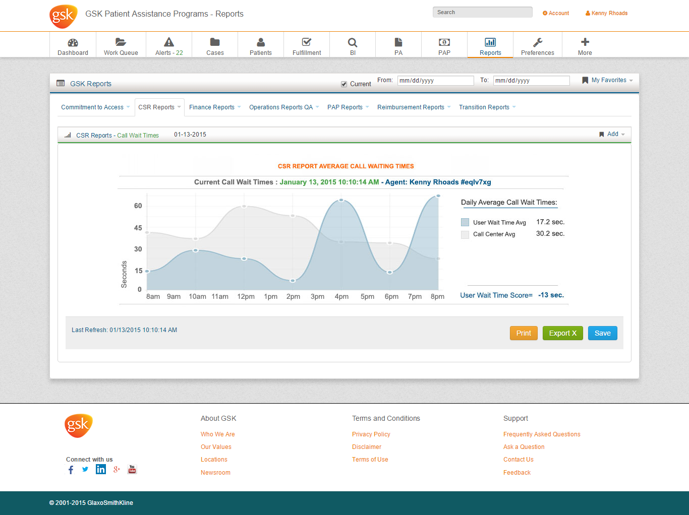 GSK Reports Page