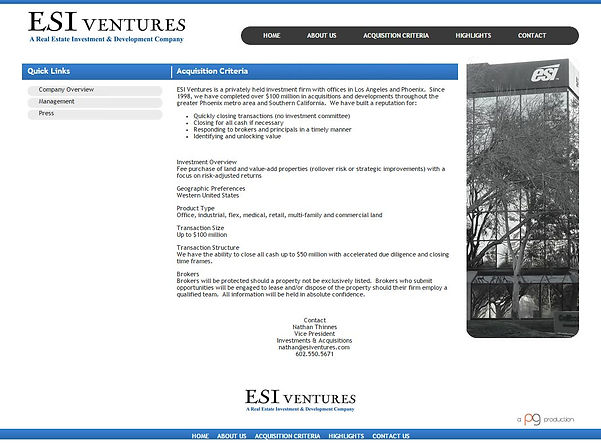 ESI Ventures Old Website