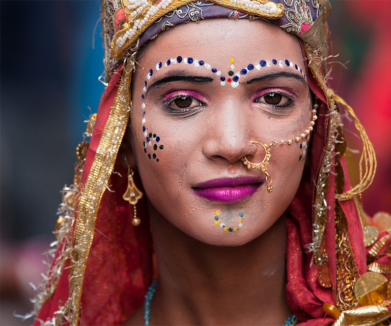 Portrait of a young woman in Pushkar
