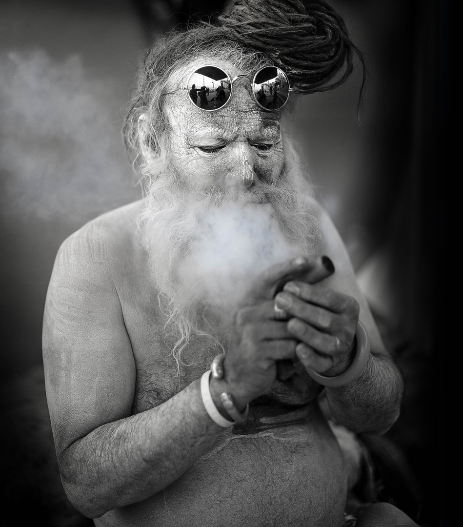 Smoking Sadhu, Varanasi, India.