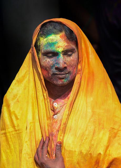 Portrait of a transgender at Holi