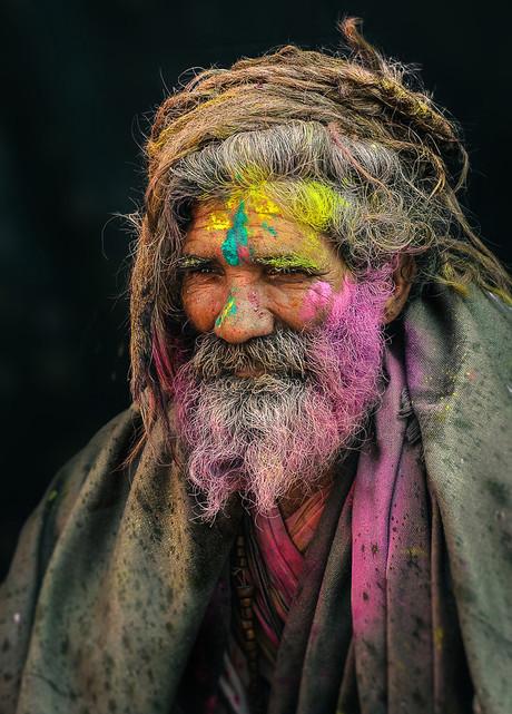 Portrait of a Sadhu at Holi