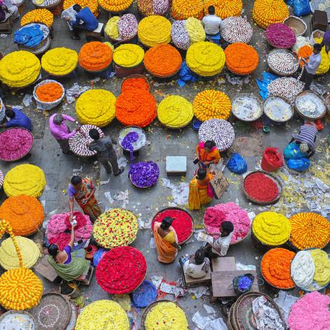 Blumenmarkt in Indien - Fotografin Runa Lindberg