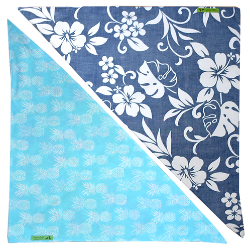 Blue Hibiscus 6 / Blue Pineapple 3 Bandanna