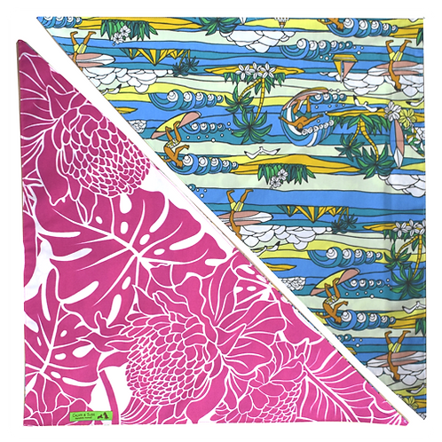 Pink Protea / Blue Lighthouse Bandanna