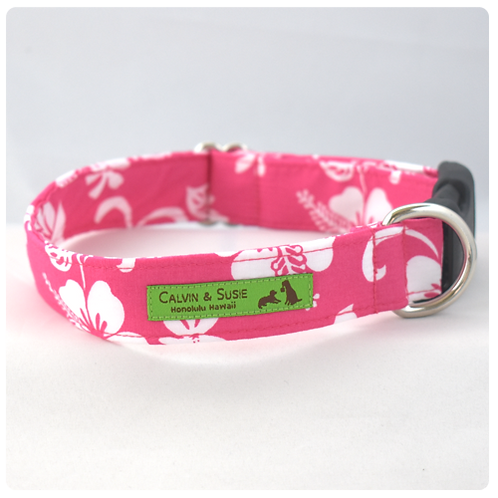 Pink Hibiscus 4 Collar & Leash