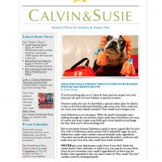 CALVIN & SUSIE OCTOBER NEWSLETTER