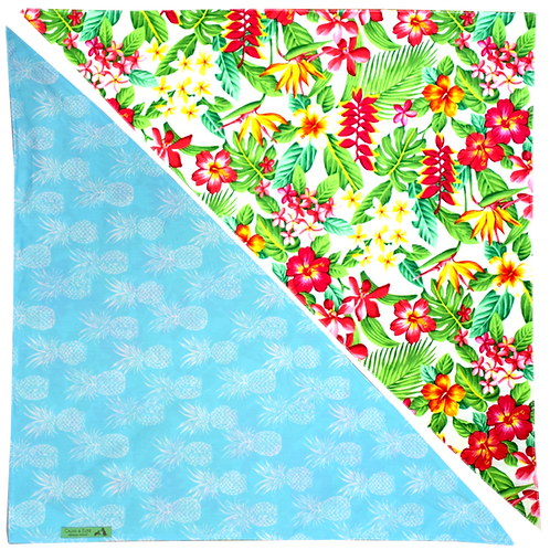 Cream Tropicals / Blue Pineapple 3 Bandanna
