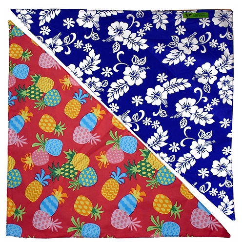 Red Pineapple 4 / Blue Hibiscus 4 Bandanna