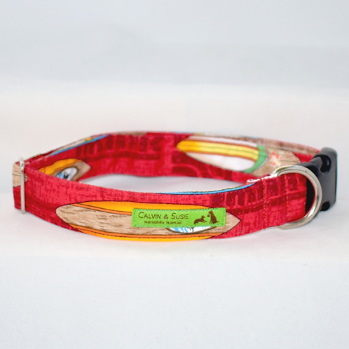 Red Surfboard 3 Collar & Leash