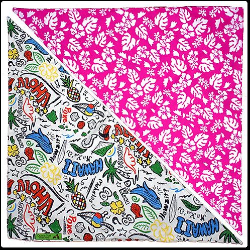 Beige Aloha / Pink Hibiscus 7 Bandanna