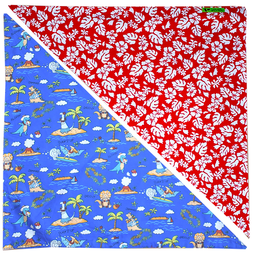 Red Hibiscus 5 / Blue Dinosaurs Bandanna