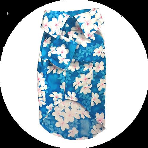 アロハシャツ プルメリア 青色 2.0