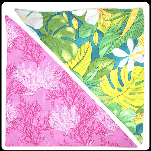 Green Leaves / Pink Coral Bandanna