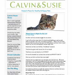 CALVIN & SUSIE JULY NEWSLETTER