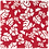 Thumbnail: Red Hibiscus 5 / Blue Dinosaurs Bandanna