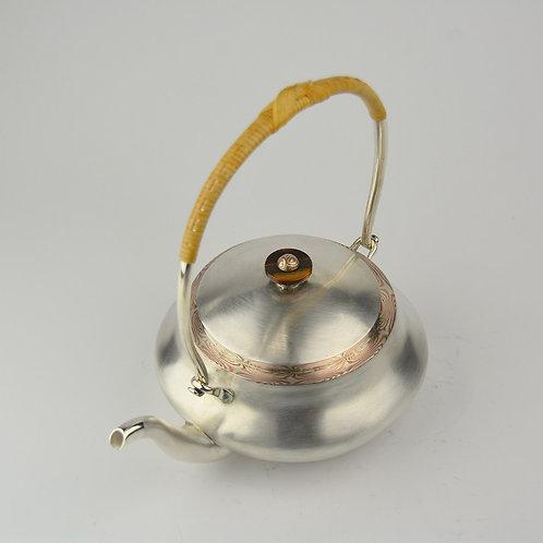 (1712) 籐編提樑-木目金虎眼鈕
