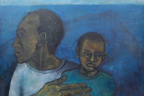 Kin Study - Man and Child at Sea by Sula Rubens A.R.W.S.