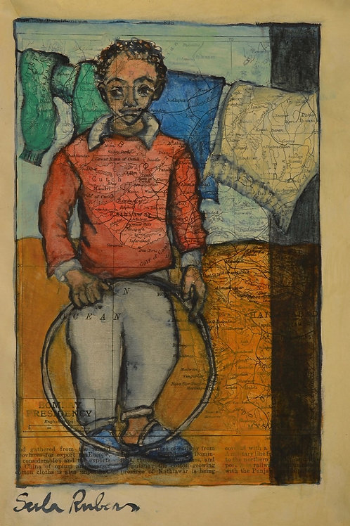 Kin Study - Boy with Hoop by Sula Rubens A.R.W.S.