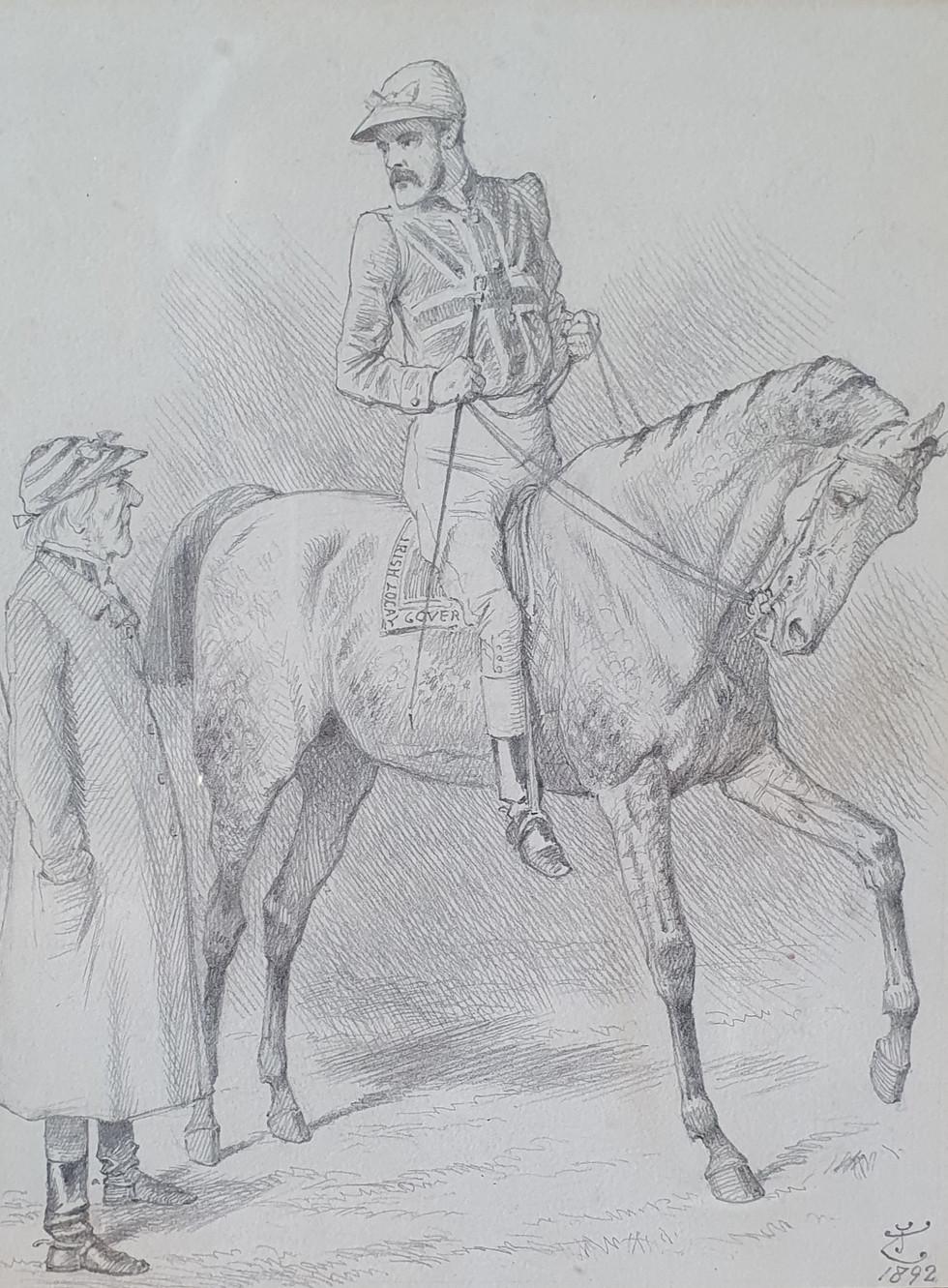 """A Very """"Dark Horse"""" - Sir John Tenniel (1820 - 1914)"""