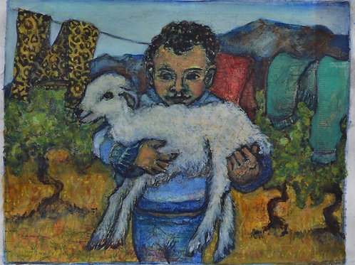 Young Boy holding a Lamb by Sula Rubens A.R.W.S.