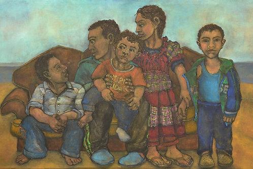 Kin - Five Children in a Landscape by Sula Rubens A.R.W.S.