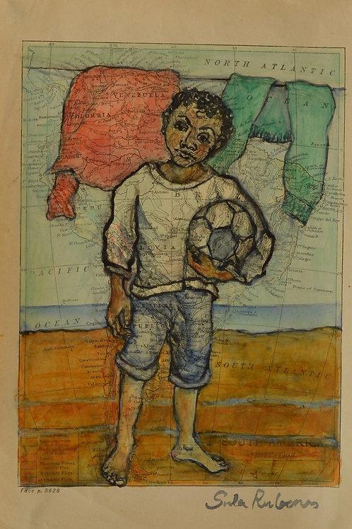 Kin Study - Boy with Football by Sula Rubens A.R.W.S.