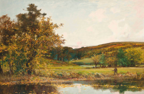 The Fly Fisherman - Sir Alfred East (1844 - 1913)