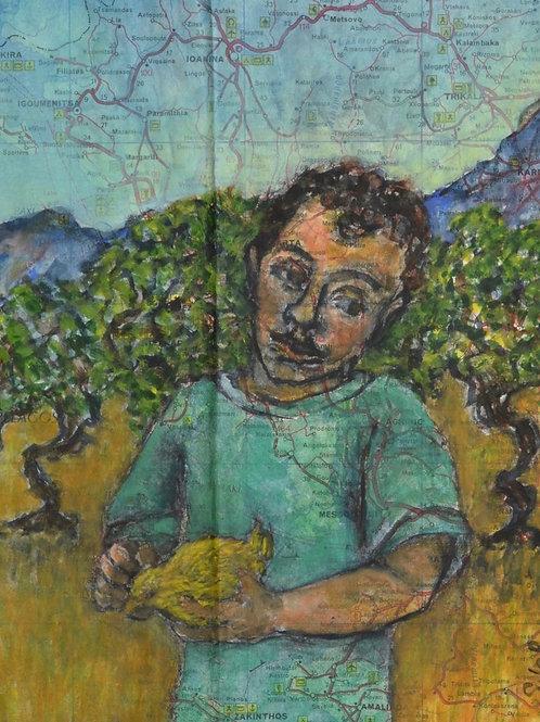 Boy holding a Small Bird by Sula Rubens A.R.W.S.