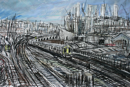 Trains heading away from Battersea Power Station by Matthew Thompson