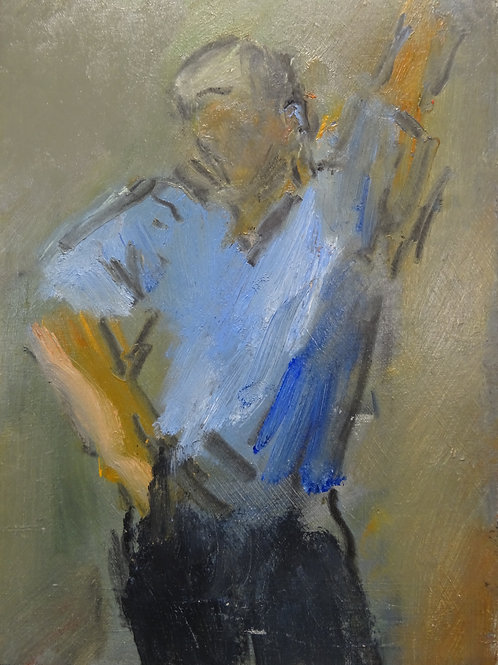 Young Man with Raised Arm by Ghislaine Howard