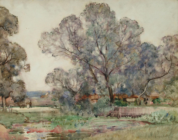 The Pond by the Road - Sir Alfred East (1844 - 1913)