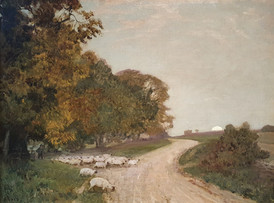 The Shepherd (A Pastoral Scene) - Sir Alfred East (1844 - 1913)