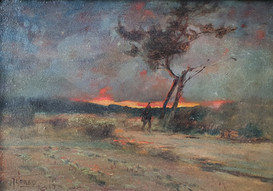 A Japanese Figure at Dusk- Sir Alfred East (1844 - 1913)