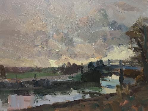 Footbridge at dusk by Tim Benson