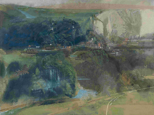 River, Town, Cliff by Paul Newland