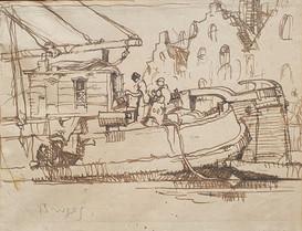 """Two Preparatory Studies for """"Barges"""" - Sir Frank Brangwyn (1867 – 1956)"""