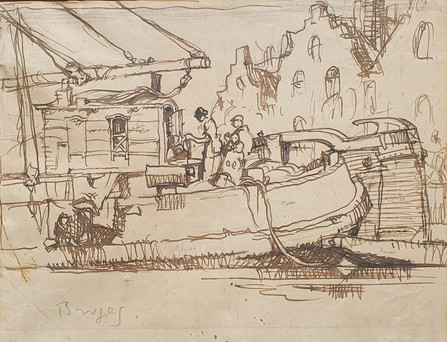 "Two Preparatory Studies for ""Unloading the Barges"" - Sir Frank Brangwyn (1867 – 1956)"